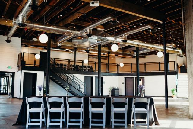 warehouse venue, industrial venue, wedding, catering