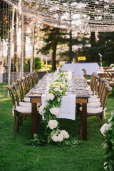 Ashley graham events, event rents Spokane, farm tables, string lights, Mangia Catering, by the lake venue
